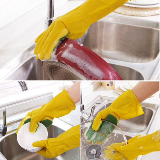 1 Pair Creative Home Washing Cleaning Gloves Garden Kitchen Dish Sponge Fingers Rubber Household Cleaning Gloves 2