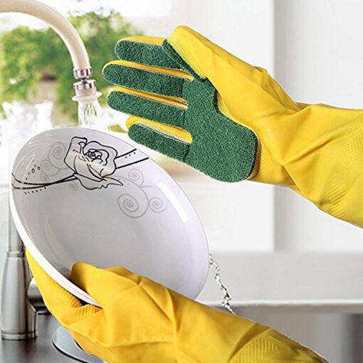 1 Pair Creative Home Washing Cleaning Gloves Garden Kitchen Dish Sponge Fingers Rubber Household Cleaning Gloves 5
