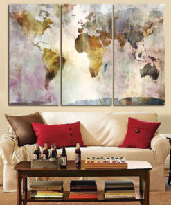 3Panel Watercolor World Map Painting HD Print on Canvas Landscape Modular Wall Painting Sofa Cuadros Art 3
