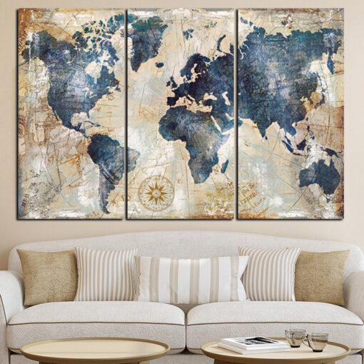 3Panel Watercolor World Map Painting HD Print on Canvas Landscape Modular Wall Painting Sofa Cuadros Art