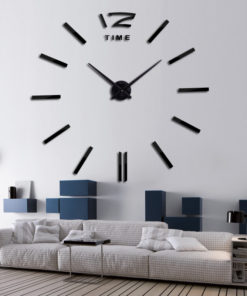 3d real big wall clock rushed mirror wall sticker diy living room home decor fashion watches 1