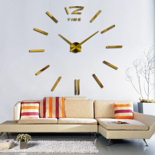 3d real big wall clock rushed mirror wall sticker diy living room home decor fashion watches 2