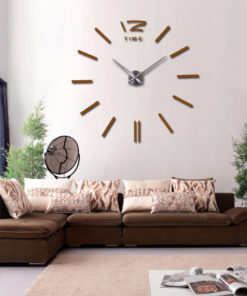 3d real big wall clock rushed mirror wall sticker diy living room home decor fashion watches 3