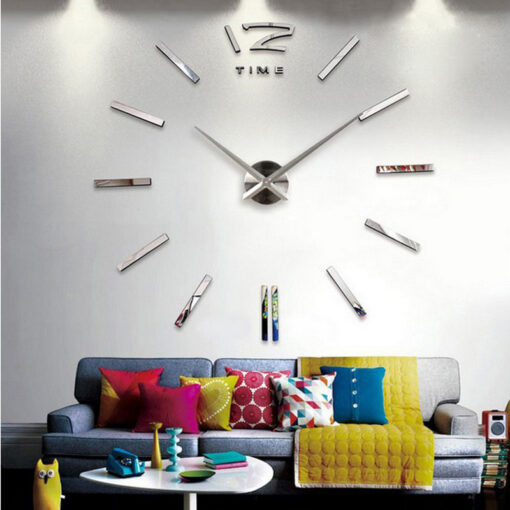 3d real big wall clock rushed mirror wall sticker diy living room home decor fashion watches