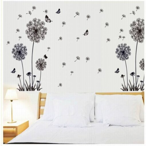 Butterfly Flying In Dandelion bedroom stickersPoastoral Style Wall Stickers Original Design 2017 PVC Wall Decals 2