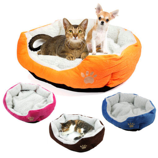 Cute Soft Dog Cat Pet Bed Mini House for Candy Colored Dogs Beds Soft Warm Pet 3
