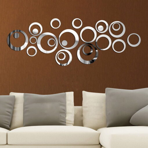 DIY Circles Wall Mirror Stickers Vinyl Art Mural Wall Sticker Room Decoration Sofa TV Background Home