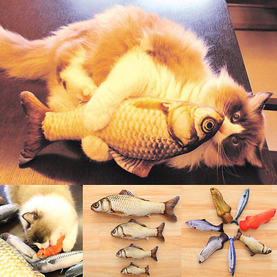 Funny Lifelike Fish Shape Pet Cat Kitten Teaser Cute Simulation Fish Playing Toy Catnip Toy Pillow