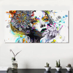HDARTISAN Modern Canvas Art Girl With FLowers Wall Pictures For Living Room Modular Pictures Home Decor 1