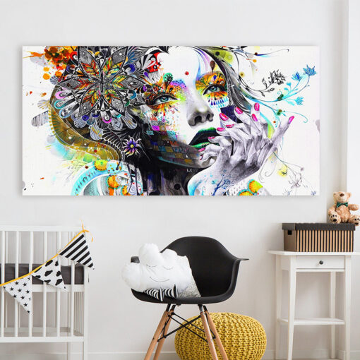 HDARTISAN Modern Canvas Art Girl With FLowers Wall Pictures For Living Room Modular Pictures Home Decor 4
