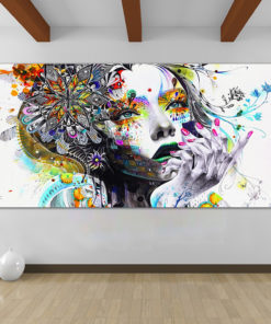 HDARTISAN Modern Canvas Art Girl With FLowers Wall Pictures For Living Room Modular Pictures Home Decor 5