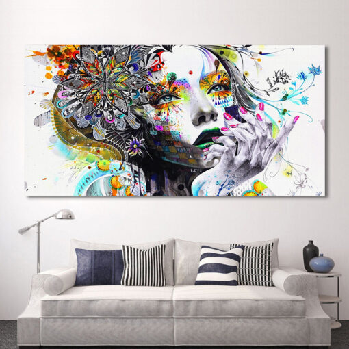 HDARTISAN Modern Canvas Art Girl With FLowers Wall Pictures For Living Room Modular Pictures Home Decor