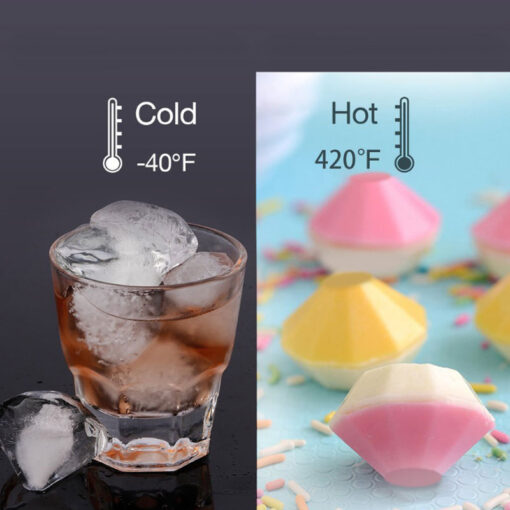 NEW 4 Cavity Diamond Shape 3D Ice Cube Mold Maker Bar Party Silicone Trays Chocolate 4