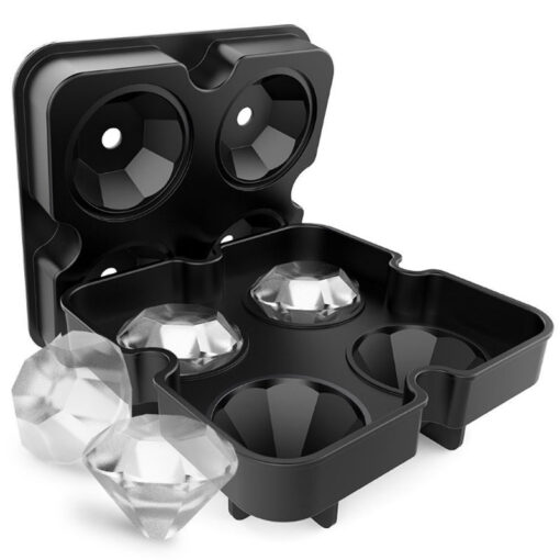NEW 4 Cavity Diamond Shape 3D Ice Cube Mold Maker Bar Party Silicone Trays Chocolate