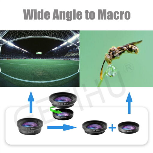 Universal Wide Angle Zoom Macro Lenses Mobile Phone Lens Fisheye Camera Fish eye For iPhone 6 2