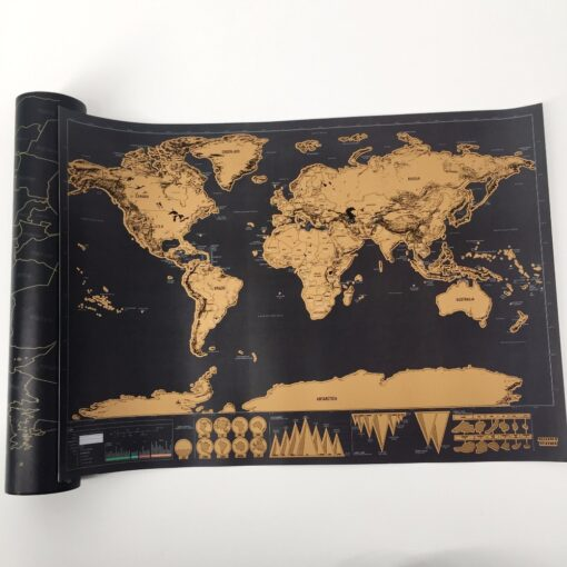 drop shipping 1 pcs New arrival Deluxe Scratch Map Personalized World Scratch Map Mini Scratch Off 7