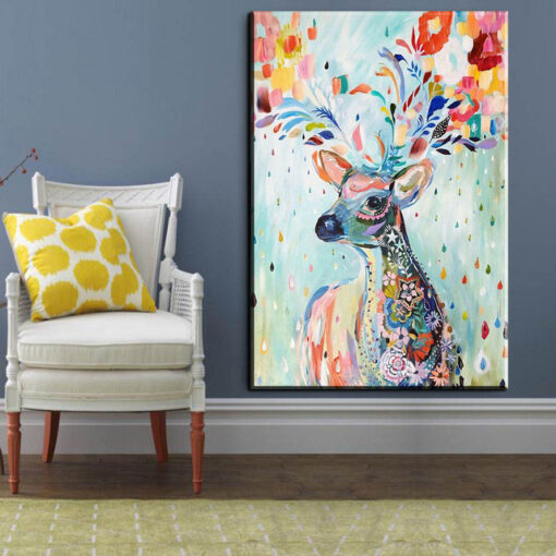 xh181 Big Triptych Watercolor Deer Head Posters Print Abstract Animal Picture Canvas Painting No Frames Living 14.jpg 640x640 14