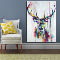 xh181 Big Triptych Watercolor Deer Head Posters Print Abstract Animal Picture Canvas Painting No Frames Living 15.jpg 640x640 15