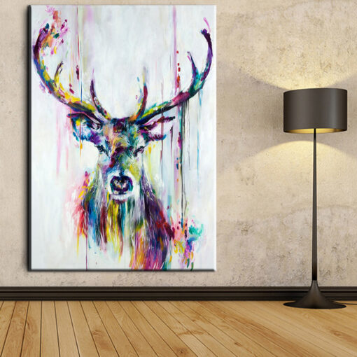 xh181 Big Triptych Watercolor Deer Head Posters Print Abstract Animal Picture Canvas Painting No Frames Living